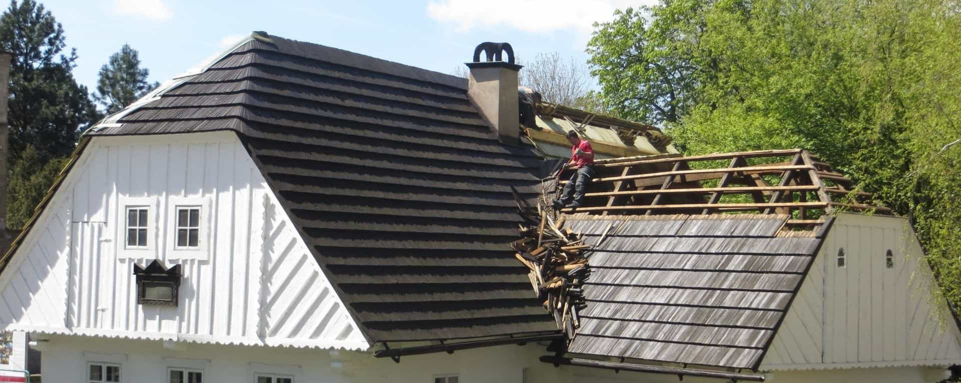 a roof being repaired