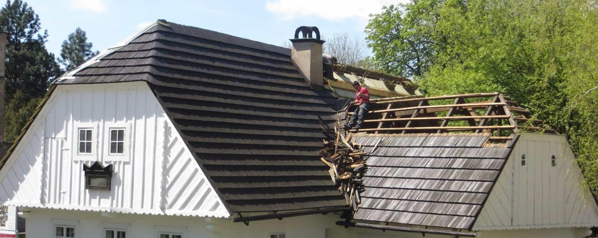 A roof repair in progress